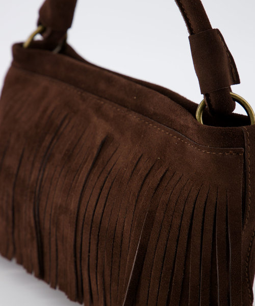 Frankie - Suede - Hand bags - Brown - 7 - Bronze
