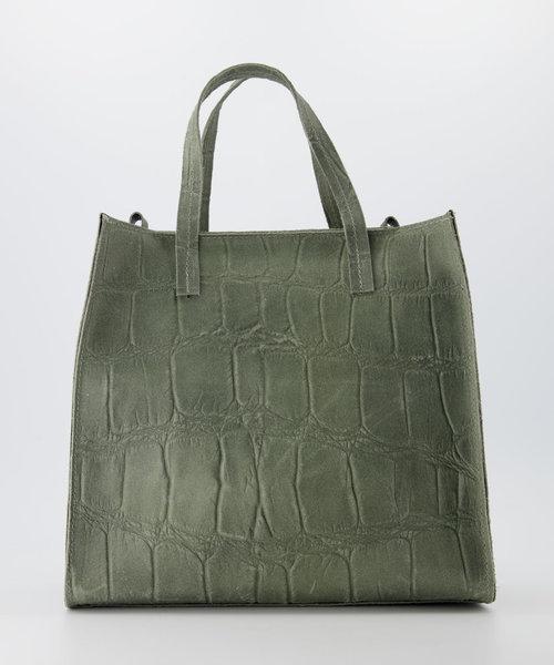 Natalie - Croco - Handtassen - Groen - 6008 - Bronskleurig