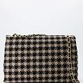 Audrey Groot Tweed - Tweed - Crossbodytassen - Beige/Zwart - Houndstooth - Goudkleurig