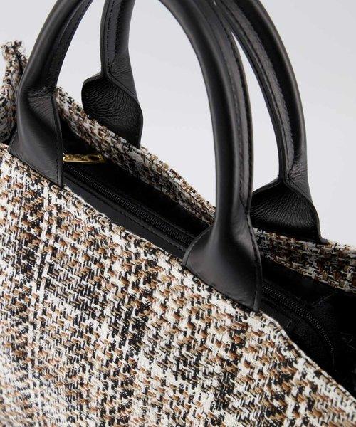 Chris - Tweed - Handtassen - Beige/Zwart -  - Goudkleurig