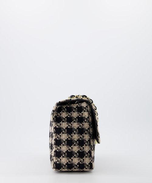 Audrey Medium Tweed - Tweed - Crossbodytassen - Beige/Zwart - Houndstooth - Goudkleurig