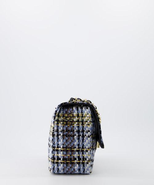 Audrey Medium Tweed - Tweed - Crossbodytassen - Blauw/Zwart -  - Goudkleurig