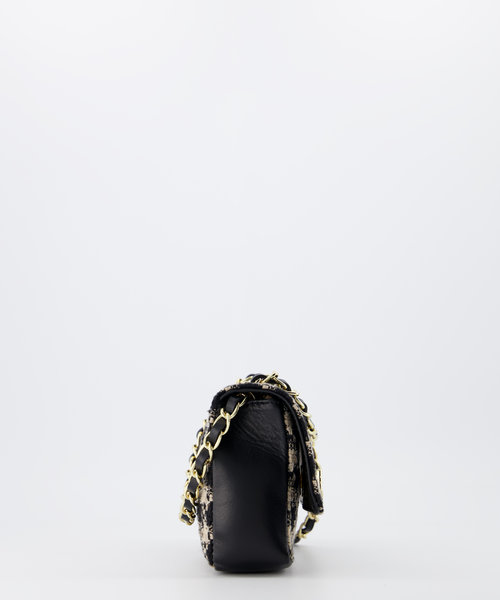 Audrey Klein Tweed - Tweed - Crossbodytassen - Beige/Zwart - Houndstooth - Goudkleurig
