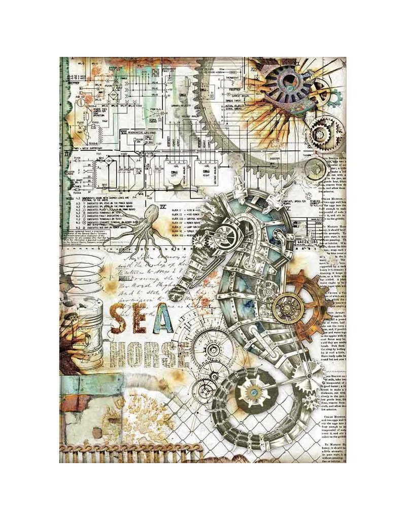 Stamperia A4 Rice paper packed Sea World seahorse