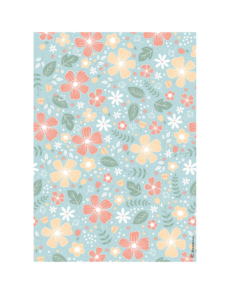 Stamperia A4 Rice paper packed Flowers