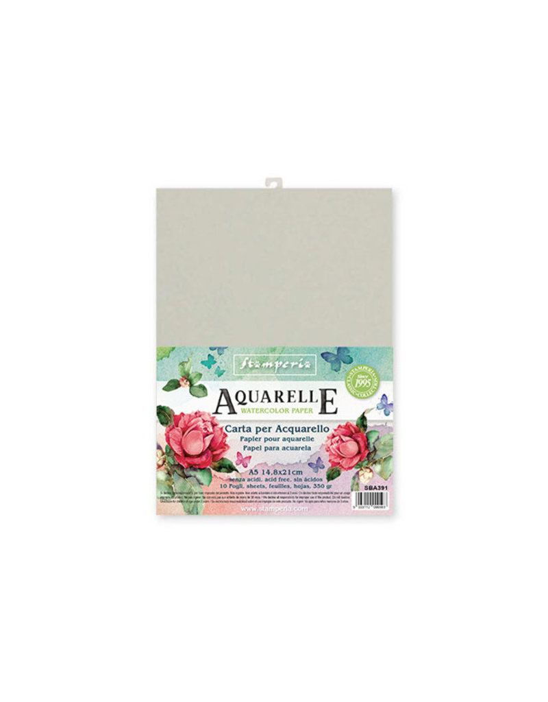 Stamperia Conf. of 10 sheets Aquarelle paper A5 format