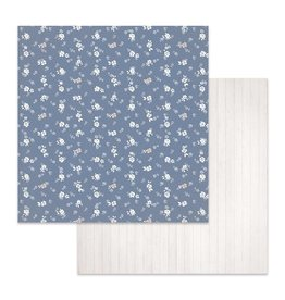 Stamperia Double Face Paper Texture flowers on blue background