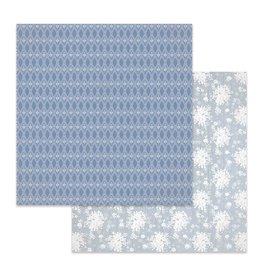 Stamperia Double Face Paper Texture white flowers on light blue background