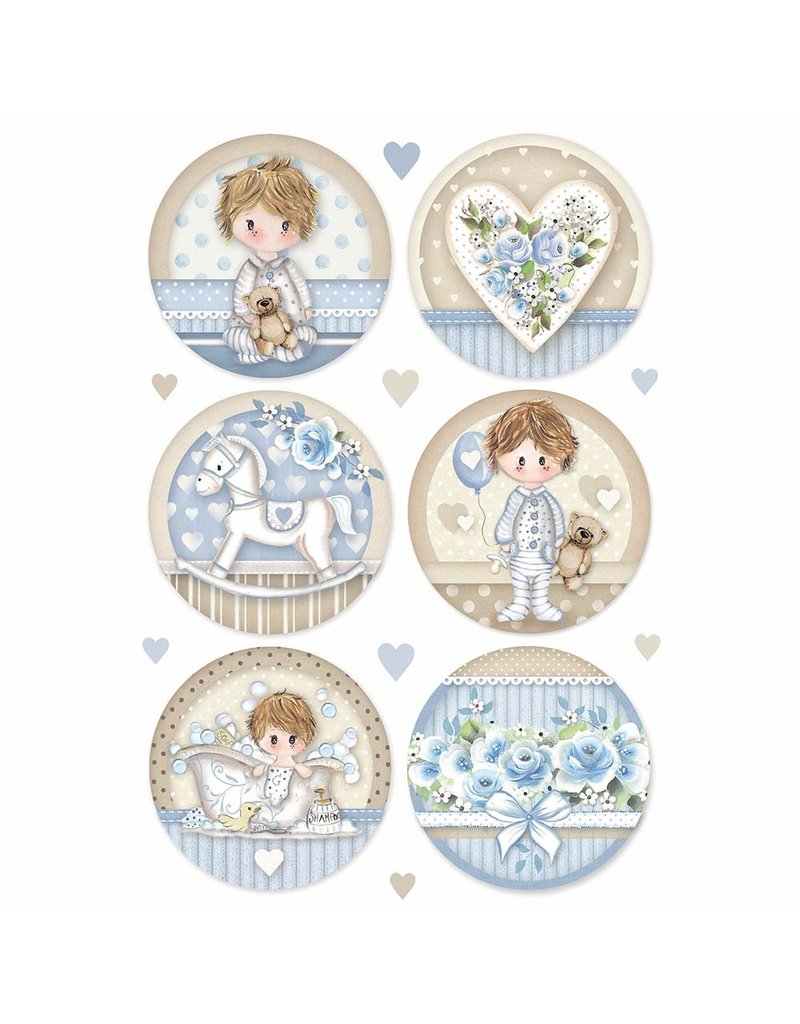 Stamperia A4 Rice paper packed Little Boy round