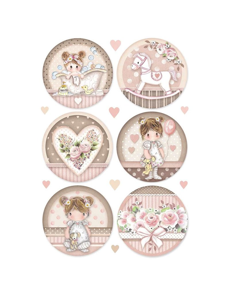 Stamperia A4 Rice paper packed Little Girl round