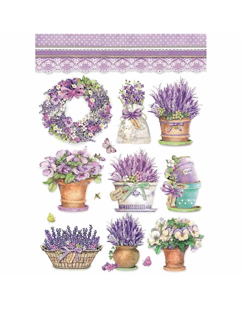 Stamperia A4 Rice paper packed Lavender vase