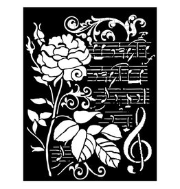 Stamperia Thick stencil cm. 20x25 Rose and music