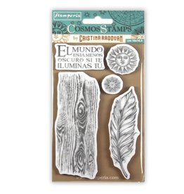 Stamperia HD Natural Rubber Stamp cm.10x16,5 Cosmos feather