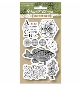 Stamperia HD Natural Rubber Stamp cm.10x16,5 Forest fish