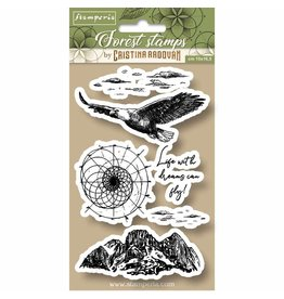Stamperia HD Natural Rubber Stamp cm.10x16,5 Forest eagle