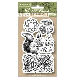 Stamperia HD Natural Rubber Stamp cm.10x16,5 Forest squirrel