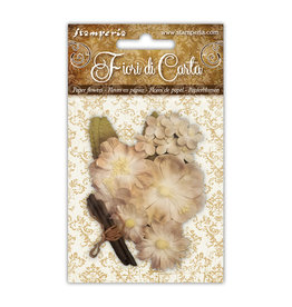 Stamperia Conf. Mixed ivory flowers with wooden stick