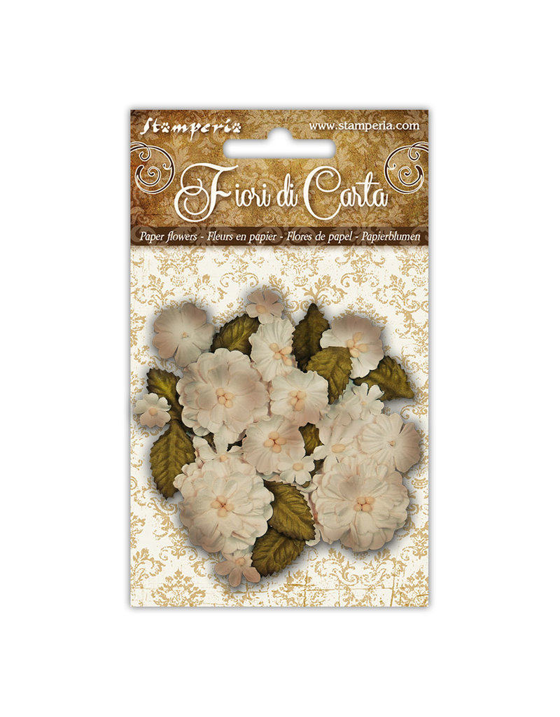 Stamperia Conf. 39 Assorted ivory flowers in various sizes