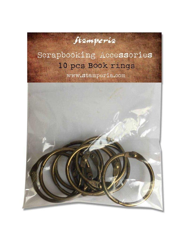 Stamperia Conf. 10 book rings diam 3 burnished