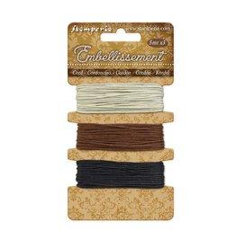 Stamperia 3 Ropes ivory - brown - black 5 m each