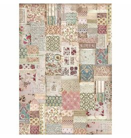 Stamperia A3 Rice paper packed Botanic Patchwork