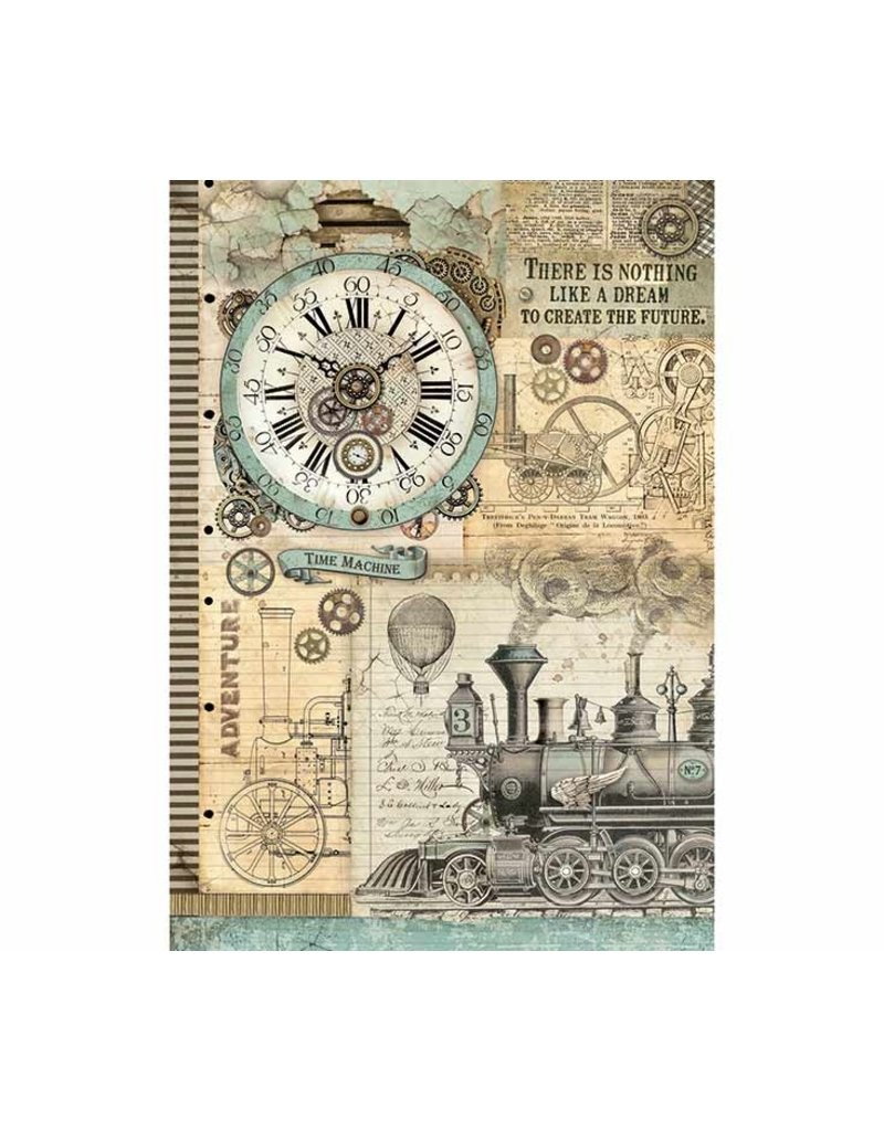 Stamperia A3 Rice paper packed Voyages Fantastiques clock