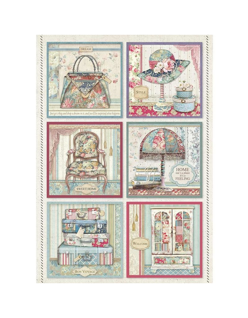Stamperia A4 Rice paper packed Cards Grand Hotel