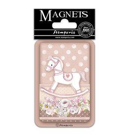 Stamperia Magnet cm. 8x5,5 - Baby Girl rocking horse