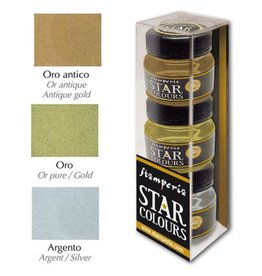 Stamperia Star Color 30ml 3 colours package: Gold-Silver-Antique gold