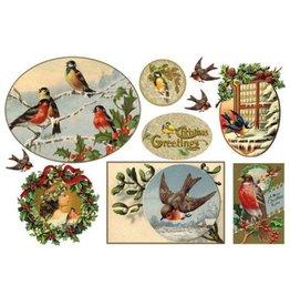Stamperia Rice paper cm. 48x33 - Merry Christmas birds