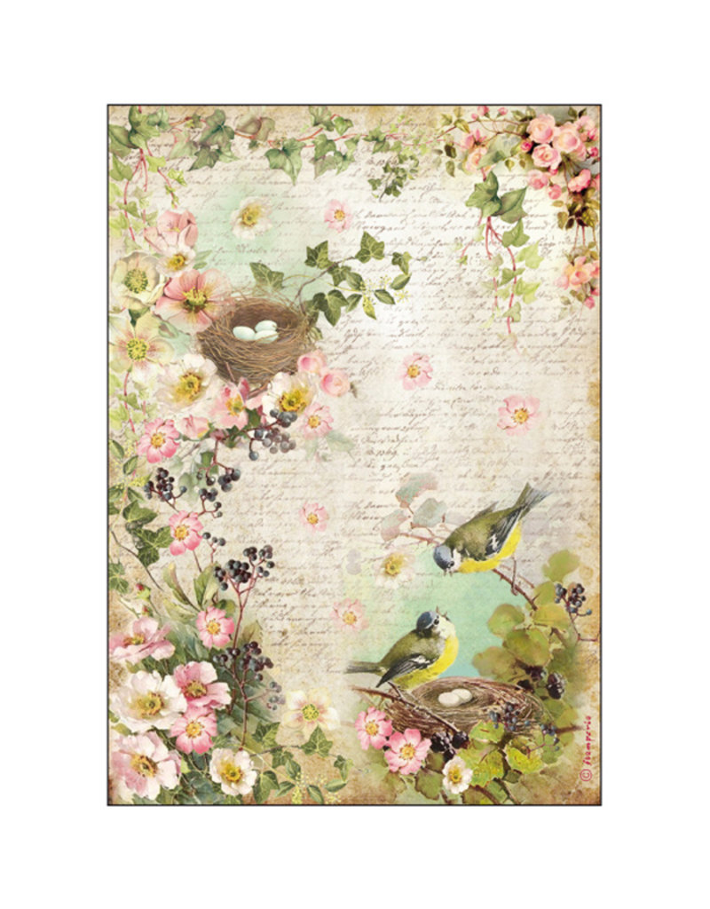 Stamperia A4 Rice Paper packed Peach Flowers & Nest