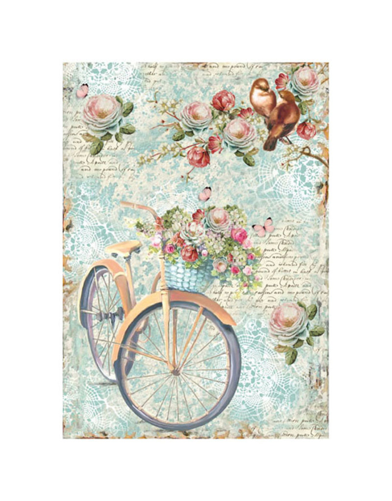 Stamperia A4 rice paper packed Bike and branch with flowes