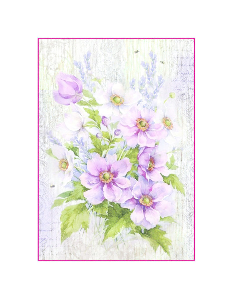 Stamperia A4 Rice Paper Packed Liliac bouquet