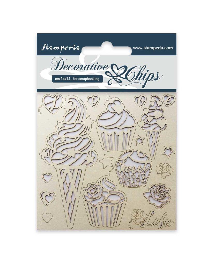 Stamperia Decorative chips cm. 14x14 Ice cream