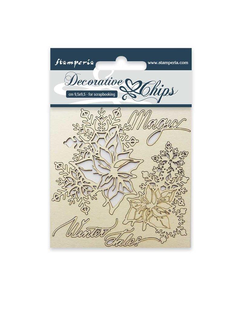 Stamperia Decorative chips cm. 9,5x9,5 Magic winter tales
