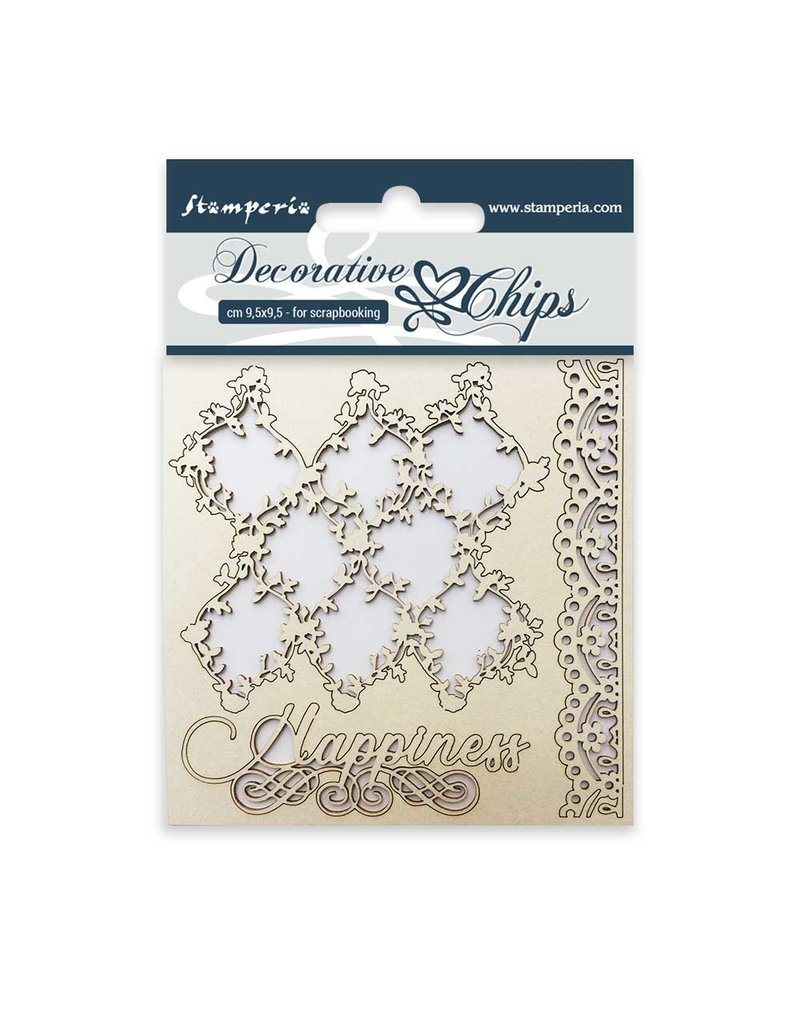 Stamperia Decorative chips cm. 9,5x9,5 Lace and border