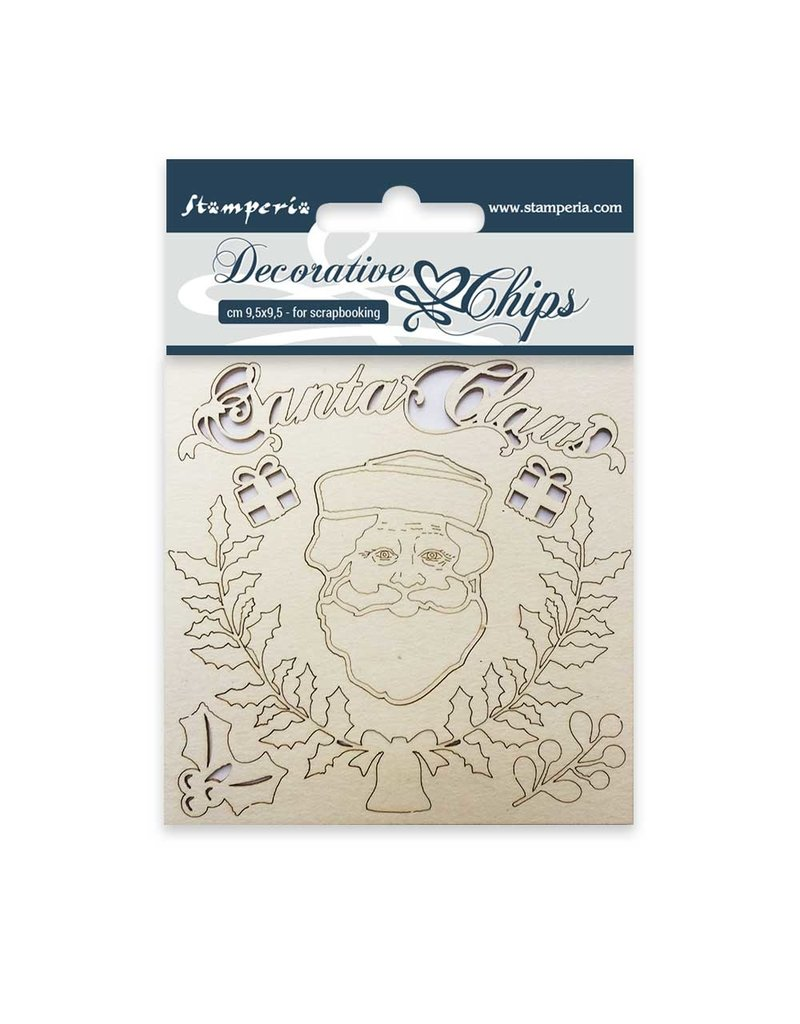 Stamperia Decorative chips cm. 9,5x9,5 Santa claus
