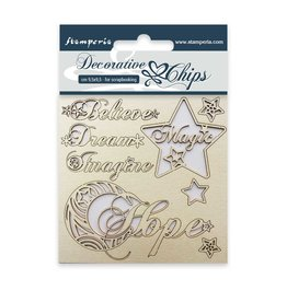Stamperia Decorative chips cm. 9,5x9,5 Hope