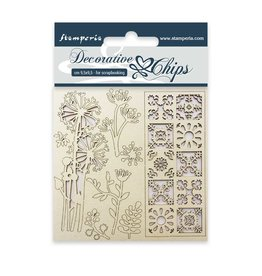 Stamperia Decorative chips cm. 9,5x9,5 Flowers and tale