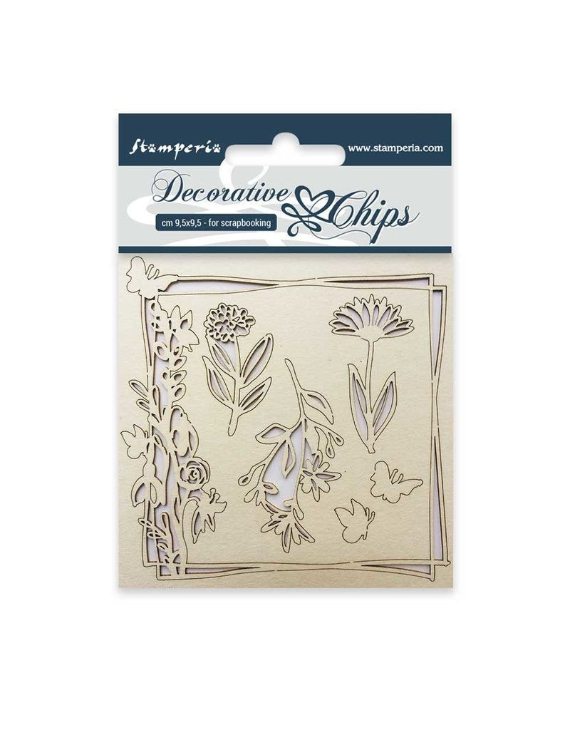 Stamperia Decorative chips cm. 9,5x9,5 Flowers and butterfly