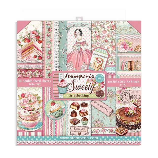 "Stamperia Block 10 Sheets 20.3X20.3  (8""X8"") Double Face Sweety"