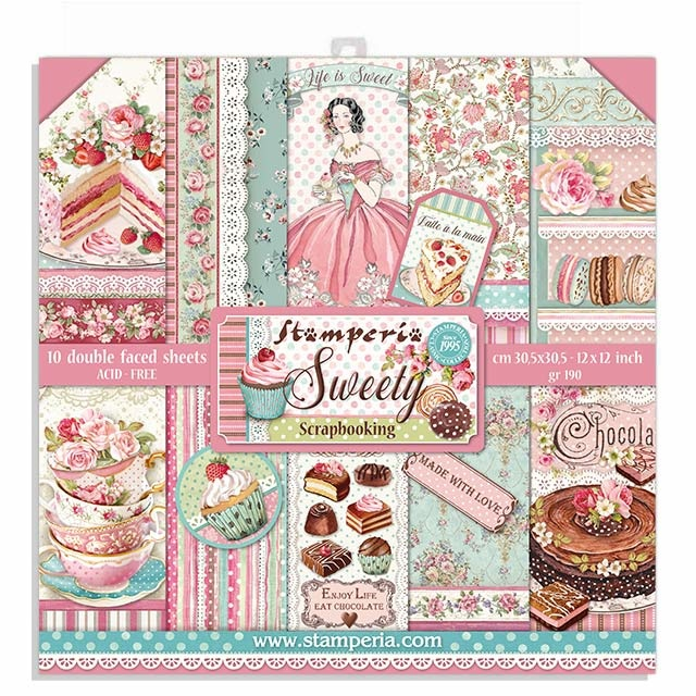 "Stamperia Block 10 sheets 30.5x30.5 (12""x12"") Double Face Sweety"