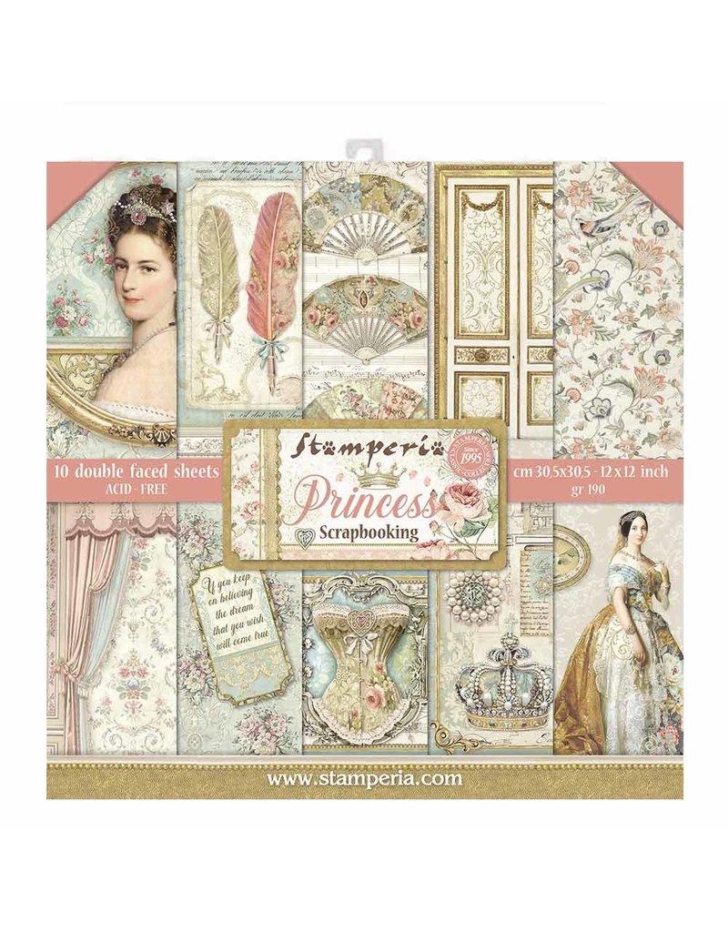 """Stamperia Block 10 sheets 30.5x30.5 (12""""x12"""") Double Face Princess"""