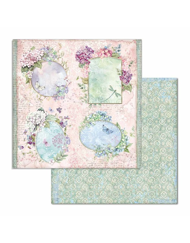 """Stamperia Block 10 sheets 30.5x30.5 (12""""x12"""") Double Face Hortensia"""