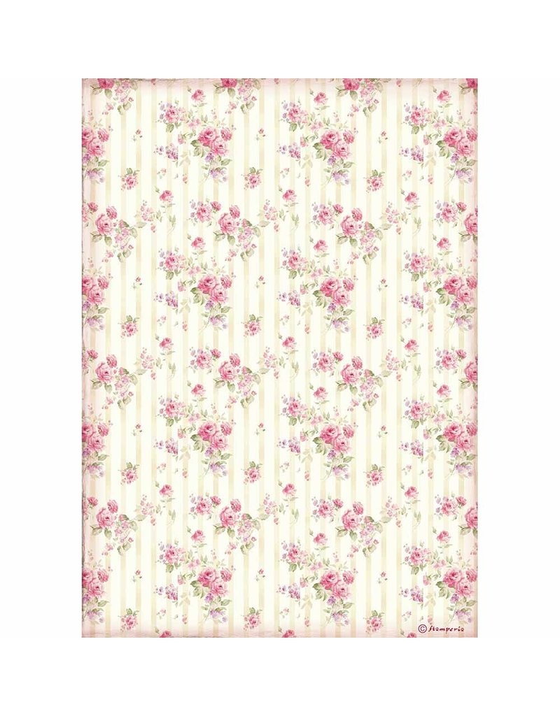 Stamperia A4 Rice paper packed Rose wallpaper