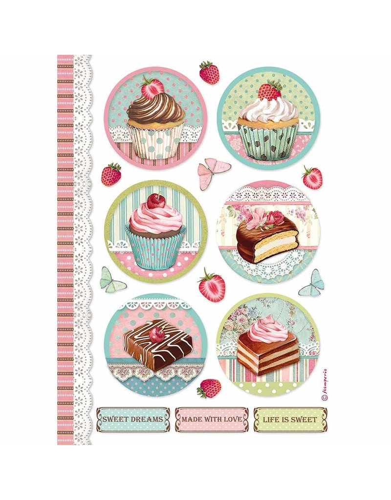 Stamperia A4 Rice paper packed Round mini cakes