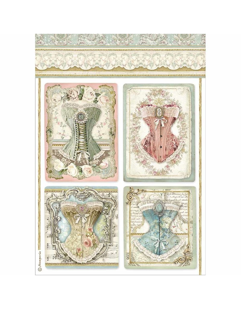 Stamperia A4 Rice paper packed Corsets