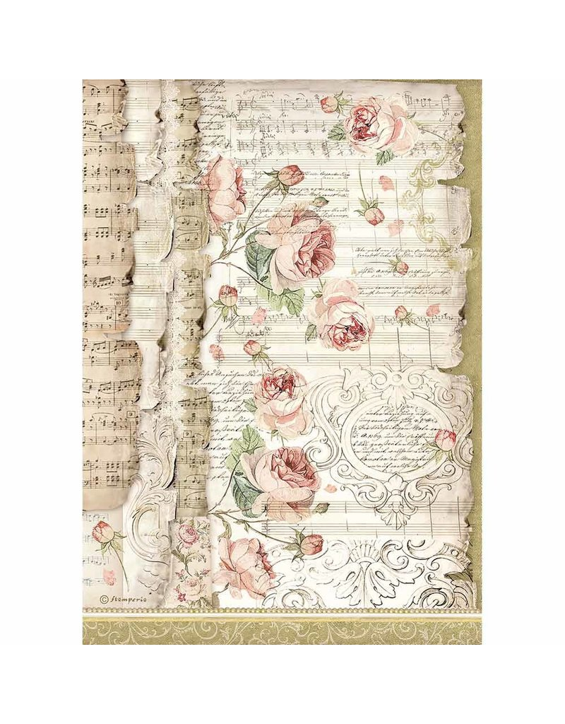 Stamperia A4 Rice paper packed Roses and music