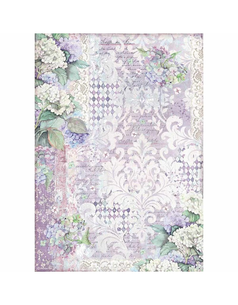 Stamperia A3 Rice paper packed Hortensia wallpaper