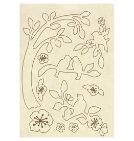 Stamperia Wooden frame A5 - Branche with birds